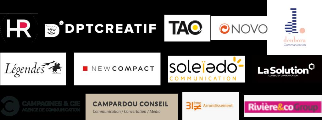 Logos agences de communication toulousaines années 2000-2010